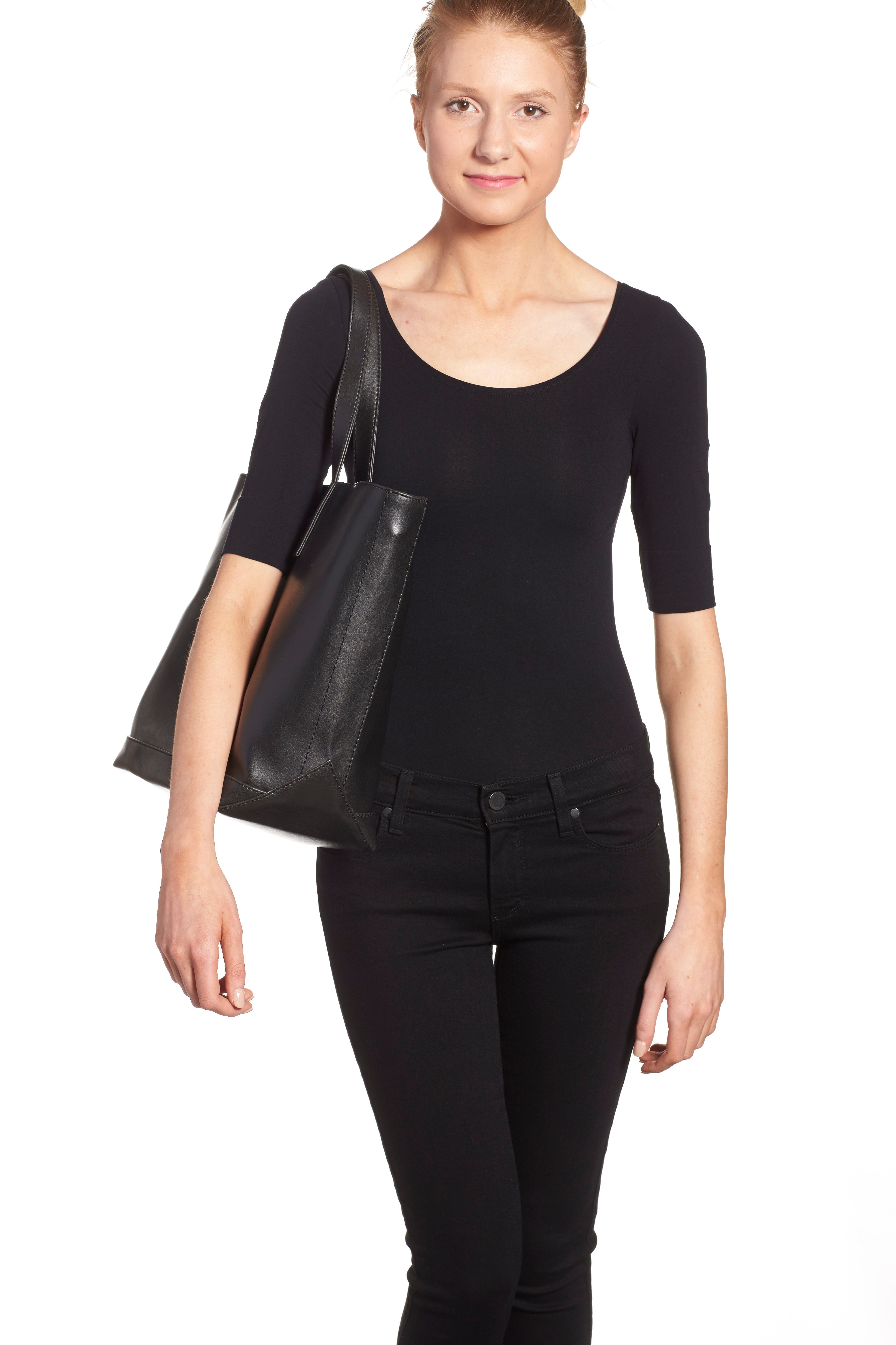 ,                             'Schlepp' Faux Leather Tote,                             Alternate thumbnail 4, color,                             BLACK