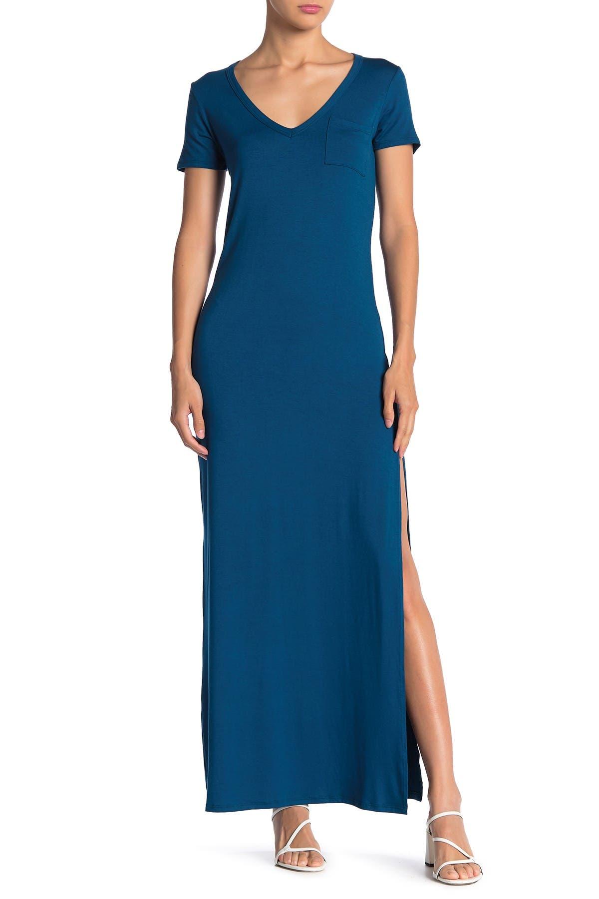 Image of Velvet Torch Side Slit Knit Maxi Dress