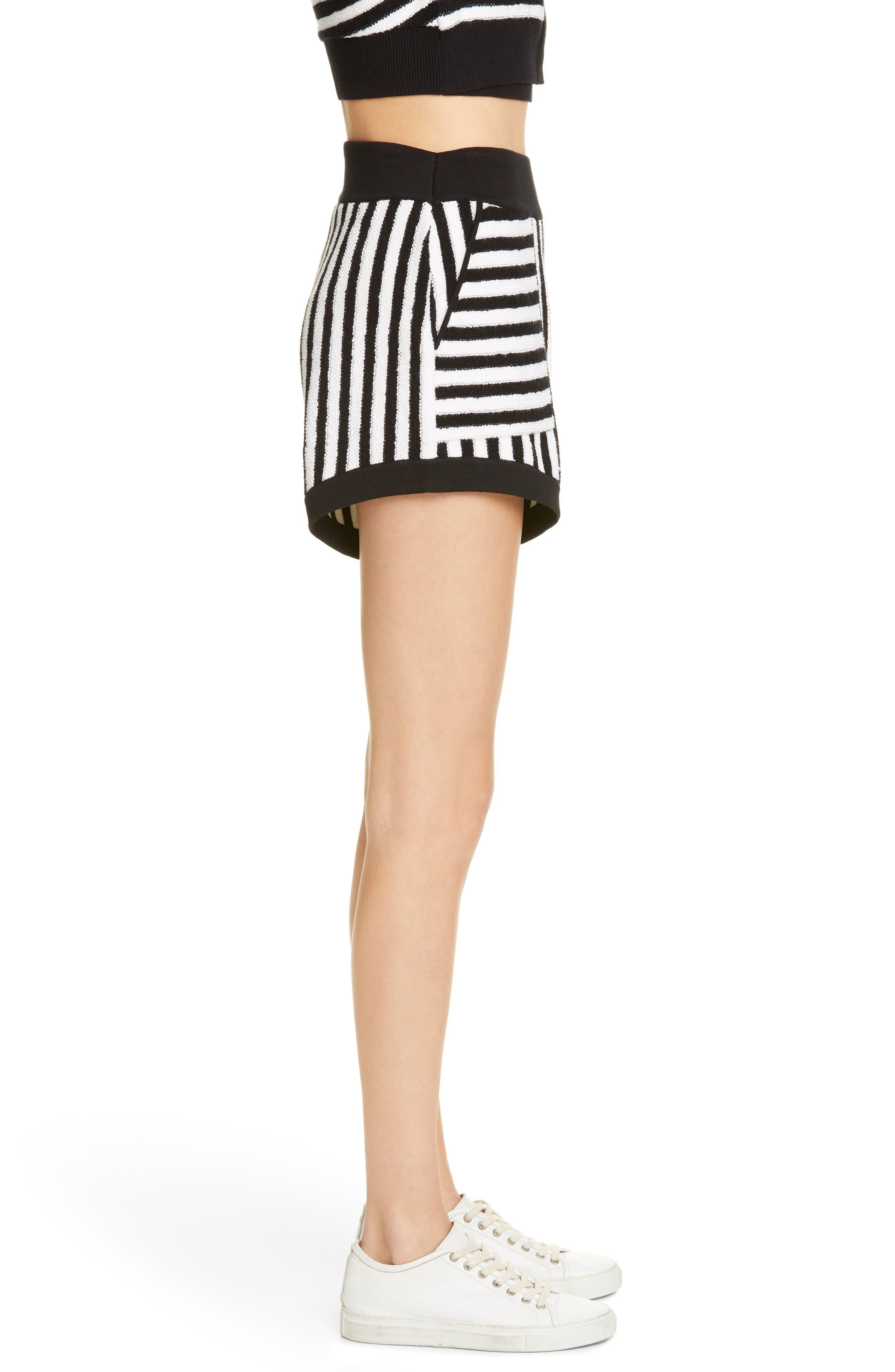 ,                             Striped Cotton & Cashmere Shorts,                             Alternate thumbnail 3, color,                             WHITE/ BLACK COMBO