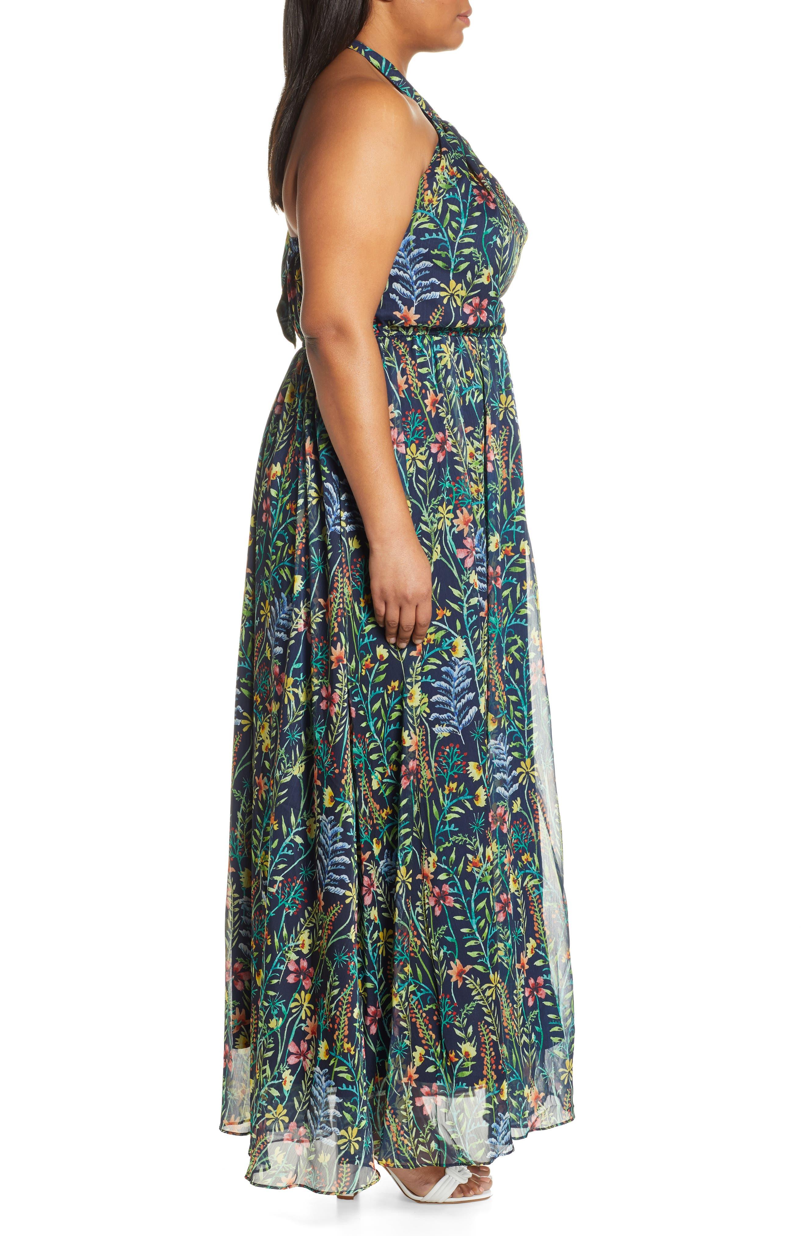 ,                             Jason Wu x ELOQUII Floral Print Halter Maxi Dress,                             Alternate thumbnail 4, color,                             SO LITTLE THYME - NAVY GROUND