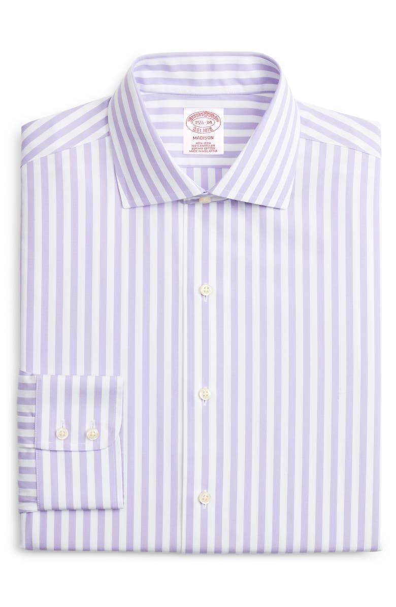 BROOKS BROTHERS Classic Fit Stripe Dress Shirt, Main, color, PURPLE
