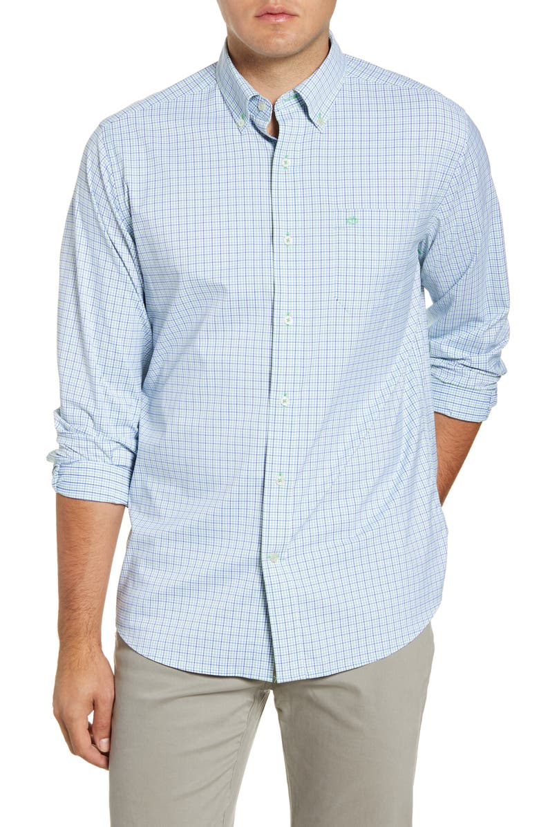 SOUTHERN TIDE Classic Fit Plaid Button-Down Shirt, Main, color, GREEN TEA