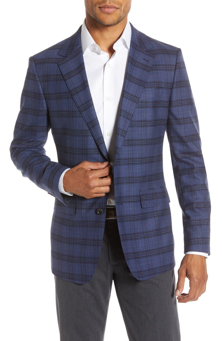 BONOBOS Jetsetter Slim Fit Plaid Stretch Wool Sport Coat, Main, color, NAVY PLAID