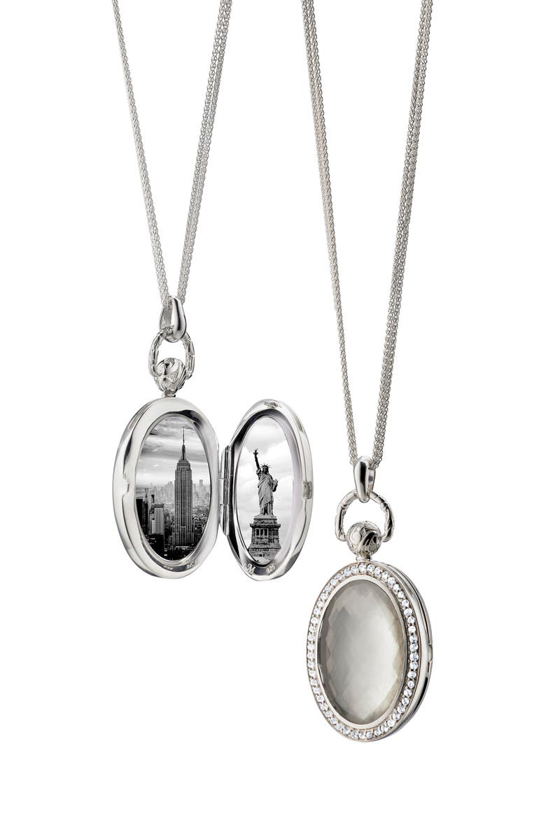 MONICA RICH KOSANN Rock Crystal Locket Necklace, Main, color, SILVER