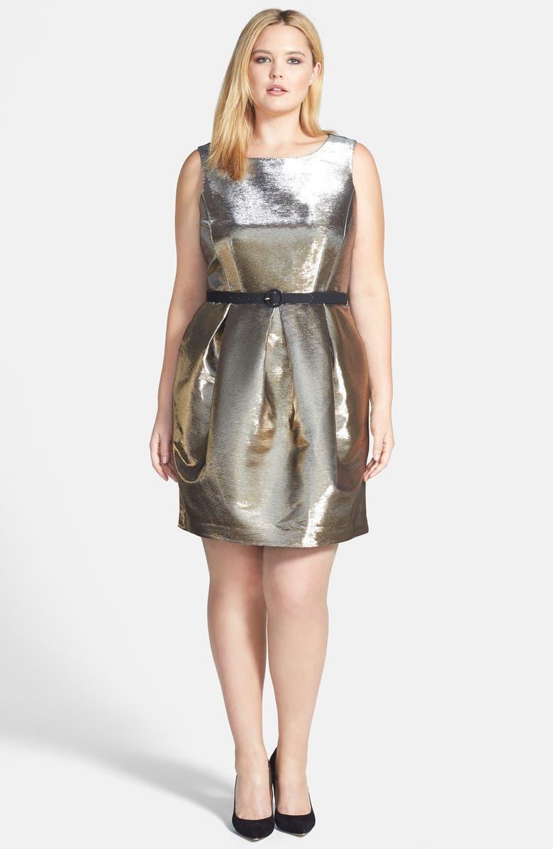 ELIZA J Belted Metallic Tulip Dress, Main, color, 710