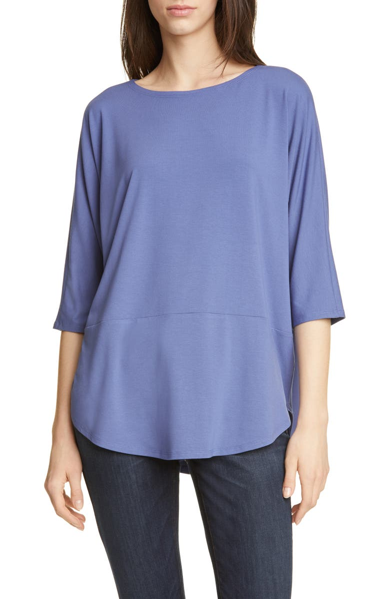 EILEEN FISHER Jersey Bateau Neck Tee, Main, color, 400