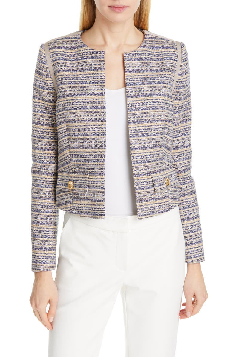 JUDITH & CHARLES Inverness Crop Tweed Jacket, Main, color, BLUE
