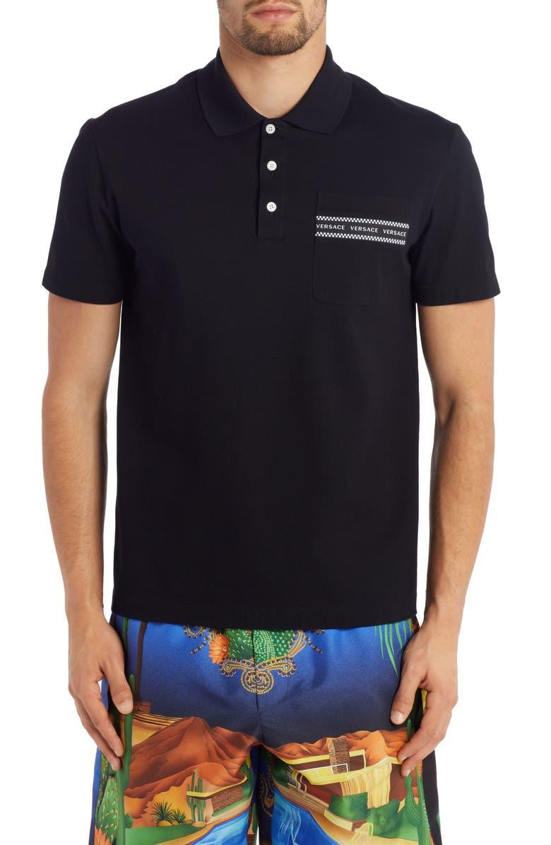 VERSACE Logo Tape Short Sleeve Piqué Pocket Polo, Main, color, 001