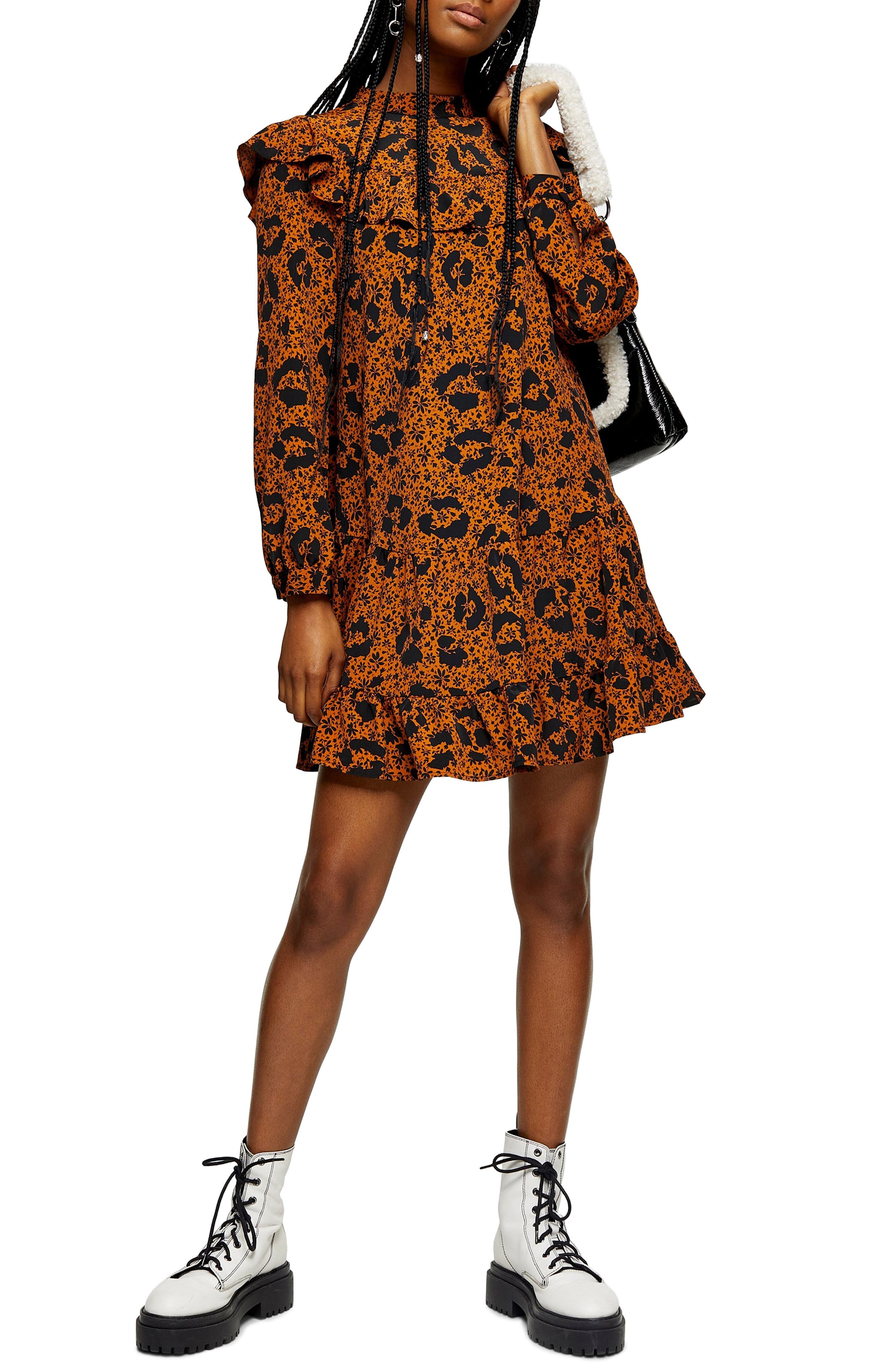 Topshop Leopard Print Frill Trousers Size UK 10  EU 38 US 6