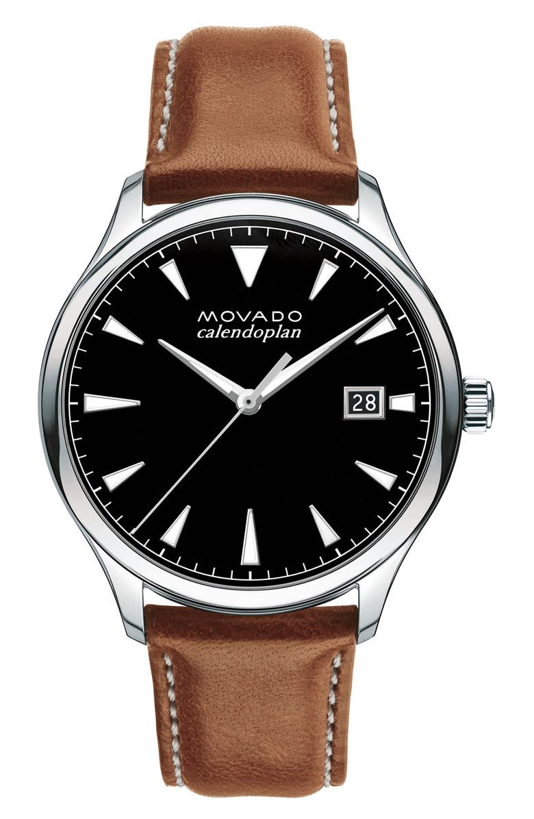 MOVADO 'Heritage' Leather Strap Watch, 40mm, Main, color, BROWN/ BLACK