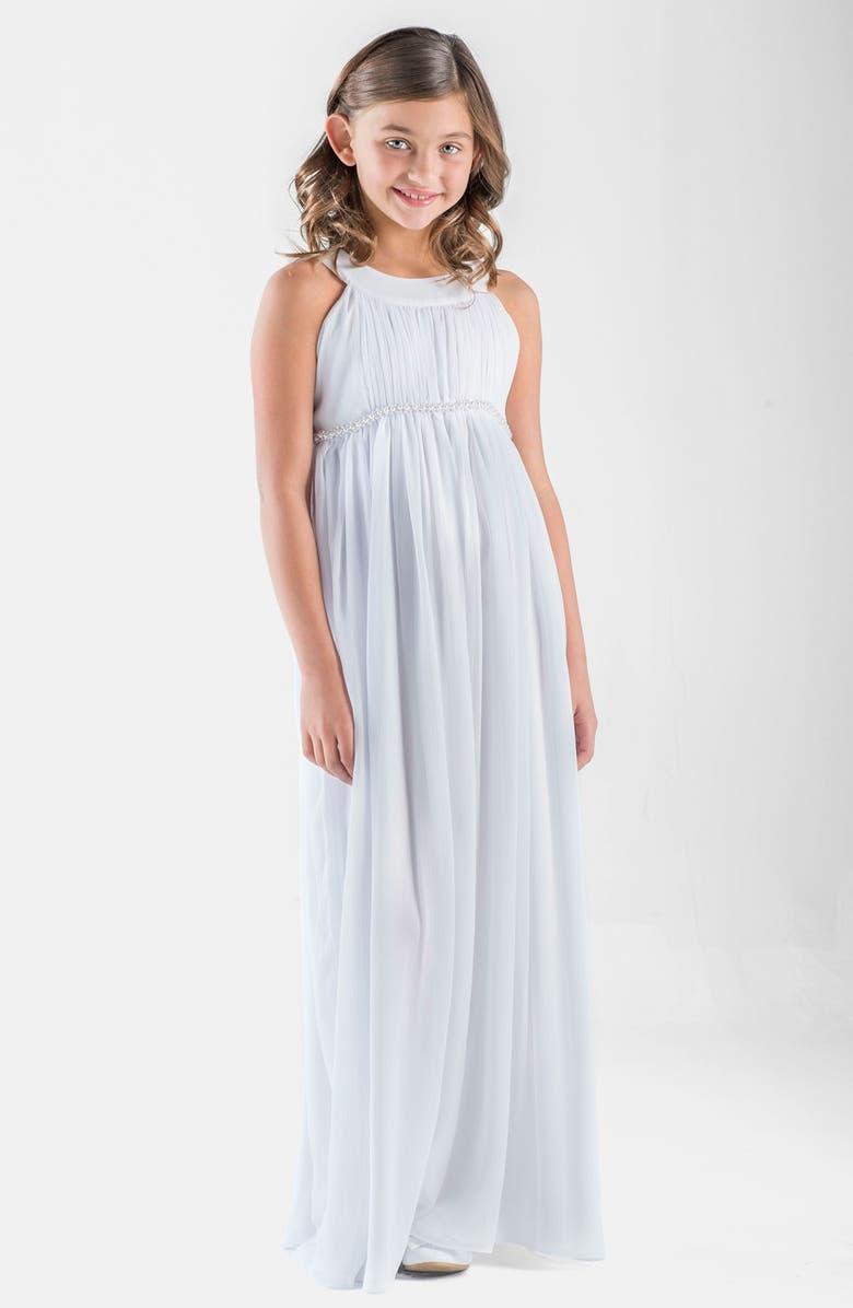 US ANGELS Sleeveless Chiffon Dress, Main, color, WHITE