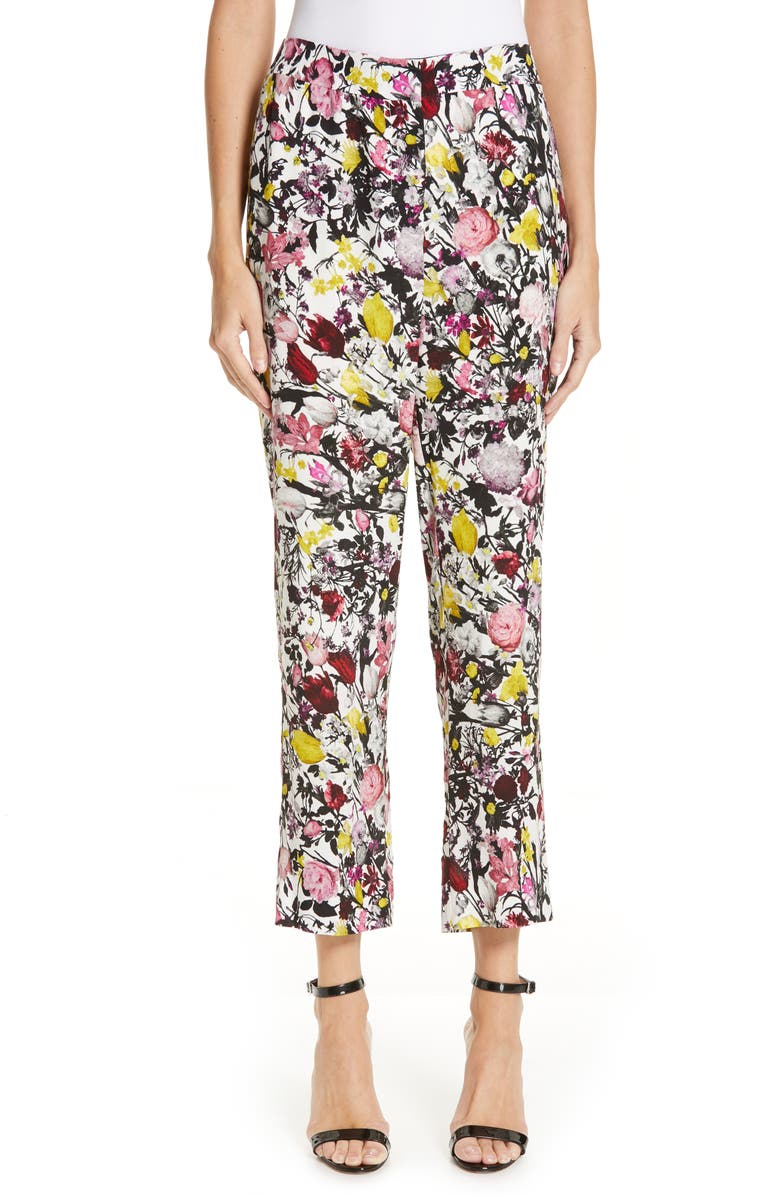 ERDEM Print Narrow Leg Crepe Pants, Main, color, 100