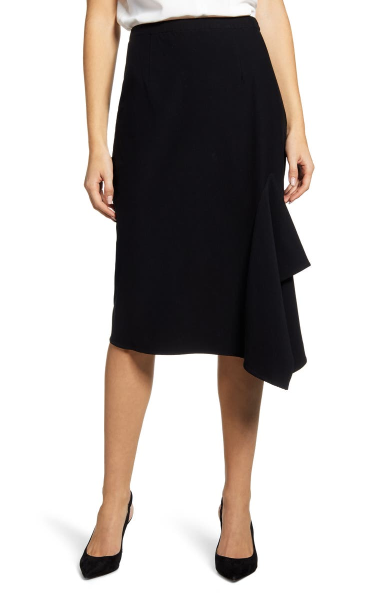 MING WANG Asymmetrical Ruffle Hem Skirt, Main, color, BLACK