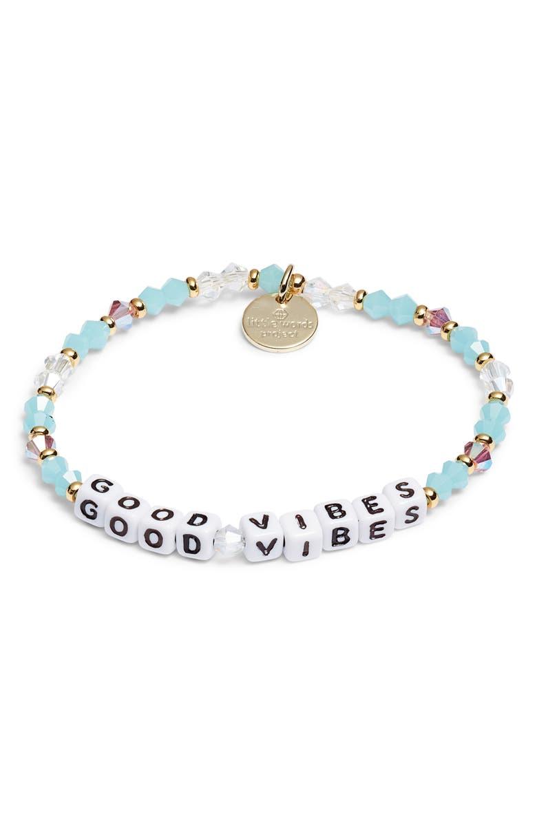 LITTLE WORDS PROJECT Good Vibes Beaded Stretch Bracelet, Main, color, DELILAH BLUE/ WHITE