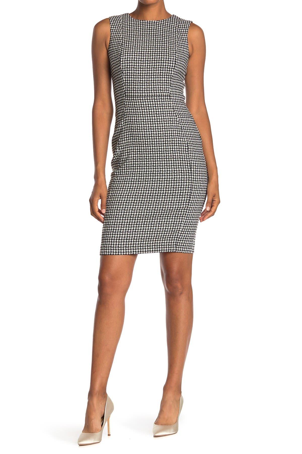 Image of Calvin Klein Check Print Sleeveless Sheath Dress