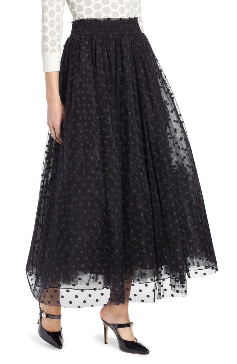 HALOGEN<SUP>®</SUP> x Atlantic-Pacific Polka Dot Tulle Maxi Skirt, Main, color, 001