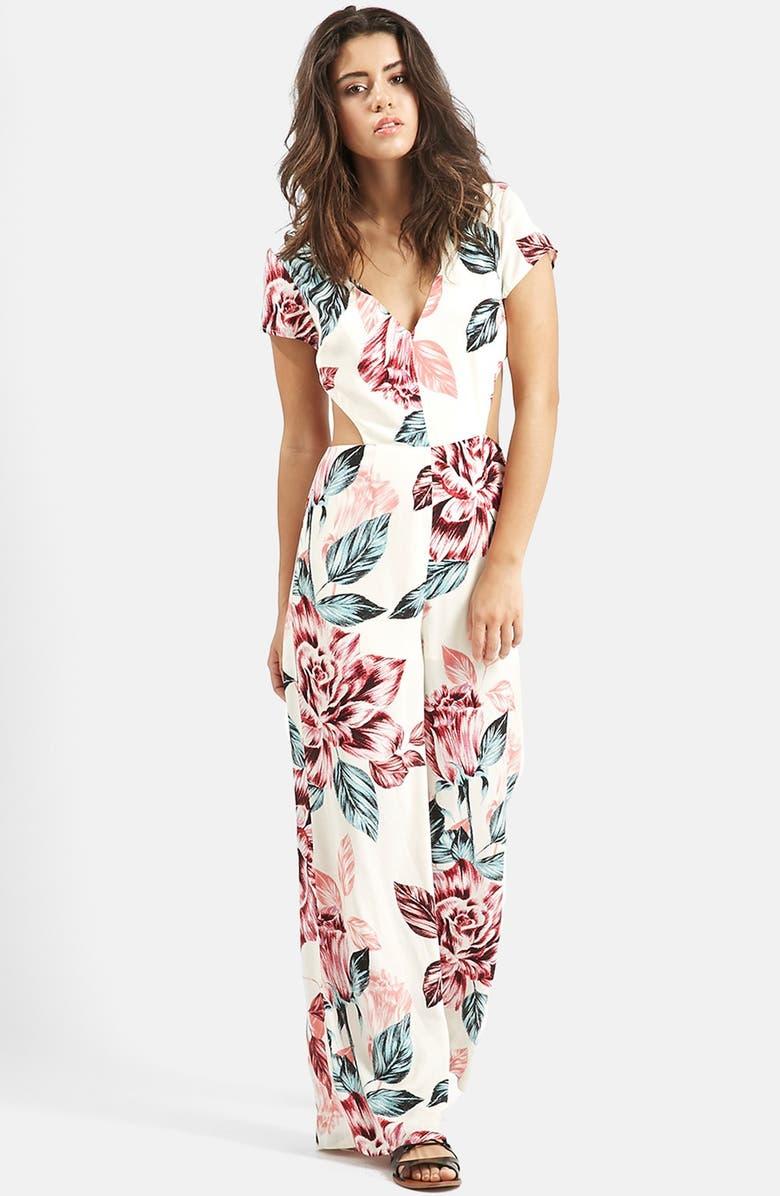 TOPSHOP KENDALL + KYLIE at Topshop Floral Print Jumpsuit, Main, color, 100