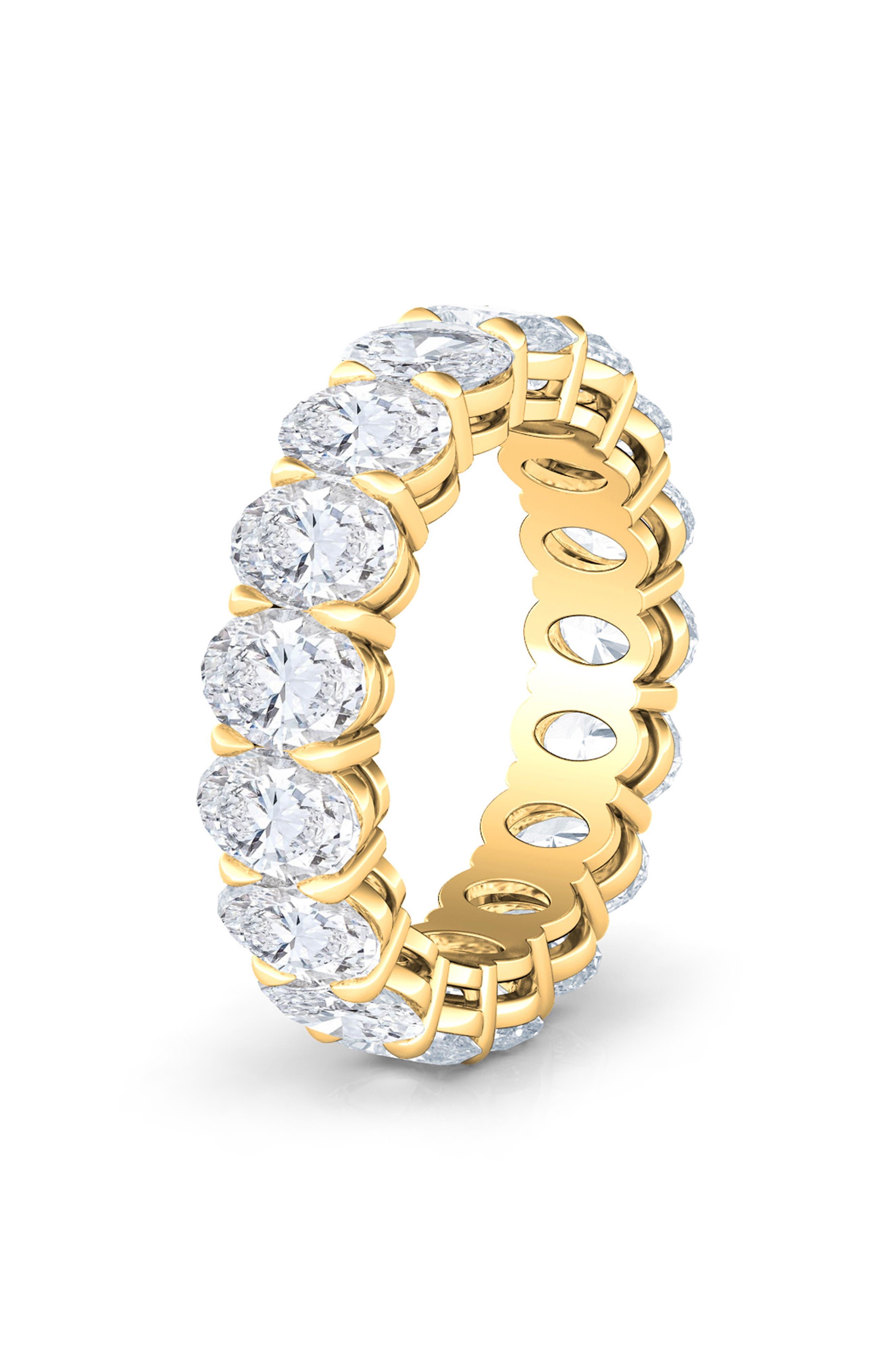Oval Cut 4Ct Tw Lab Created Diamond 18K Gold Eternity Band