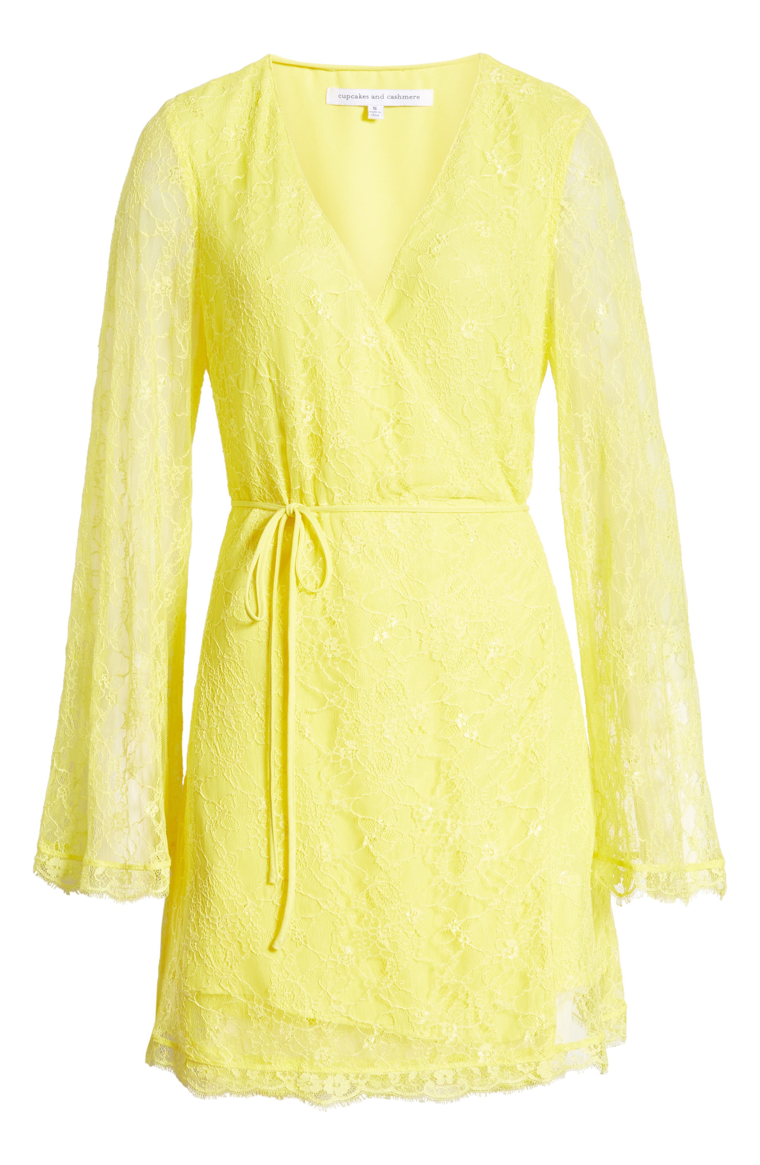,                             Lesley Lace Long Sleeve Wrap Dress,                             Alternate thumbnail 7, color,                             CITRON YELLOW