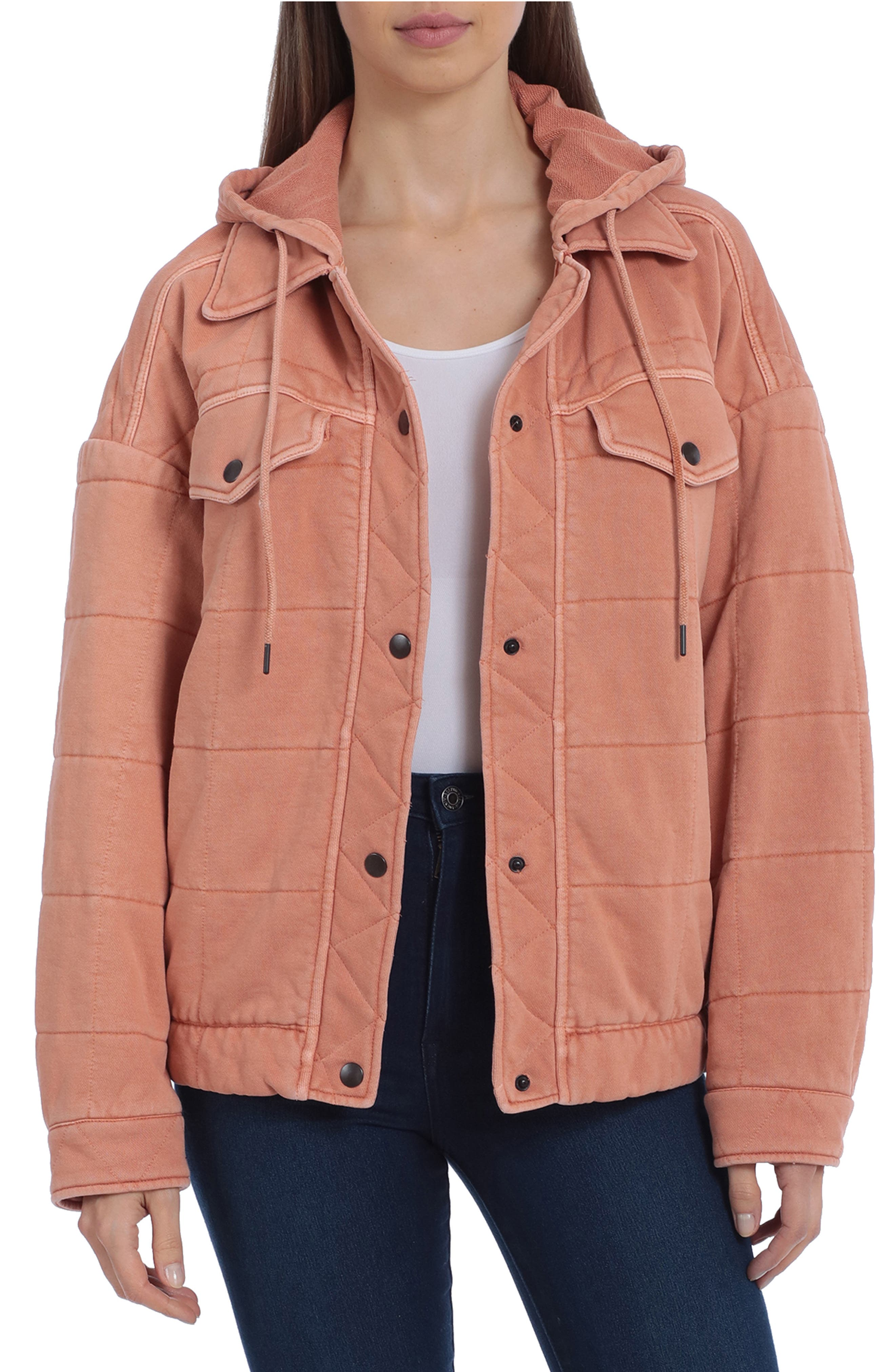 Quilted Hooded Denim Jacket