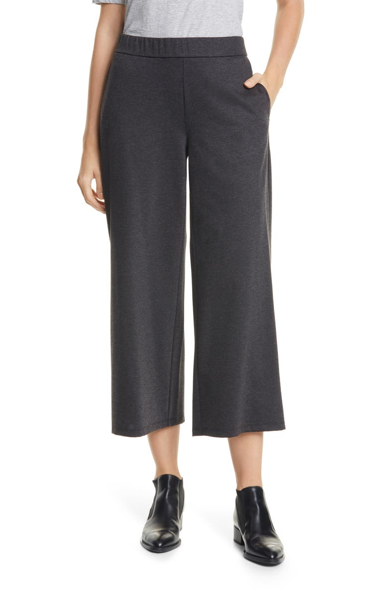 EILEEN FISHER Wide Ankle Pants, Main, color, CHARCOAL