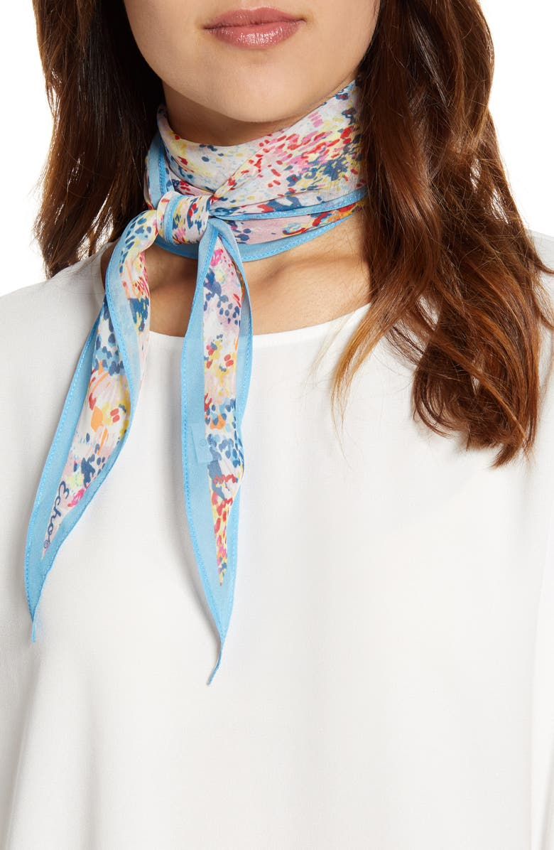 ECHO Floral Diamond Cut Silk Scarf, Main, color, 100
