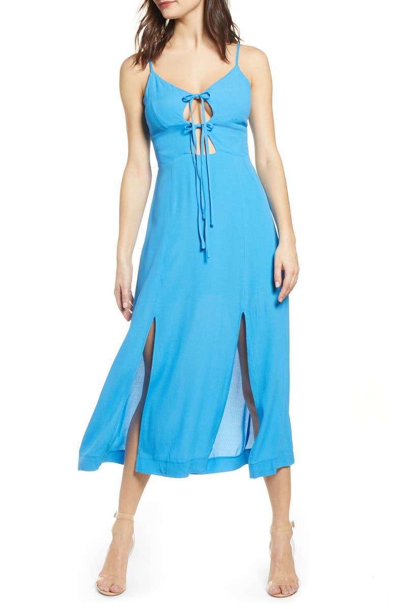 J.O.A. Double Tie Front Maxi Dress, Main, color, LIGHT BLUE