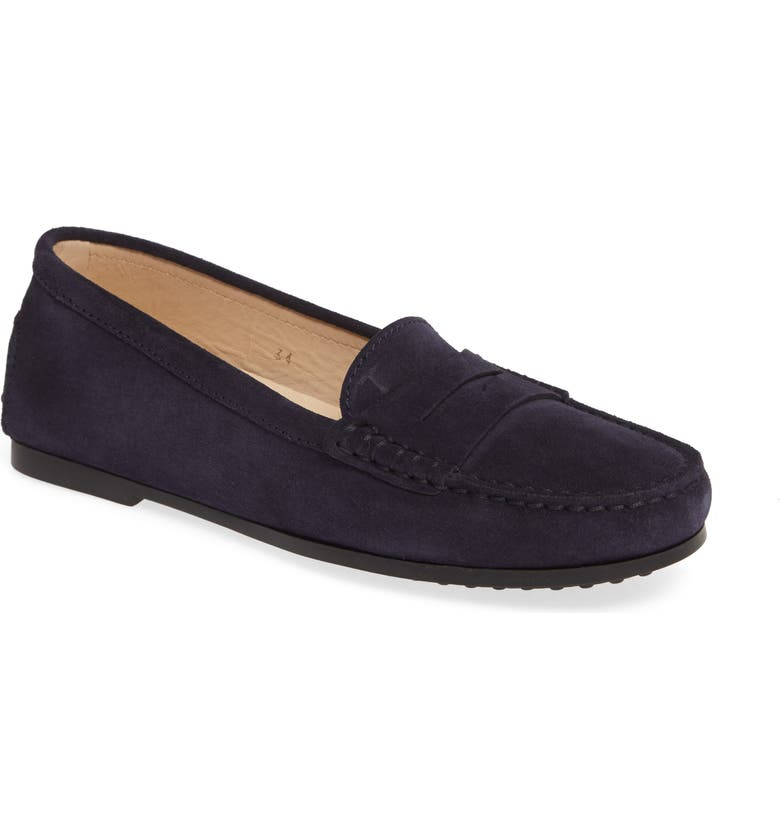 TOD'S New City Gommino Moccasin, Main, color, NAVY SUEDE