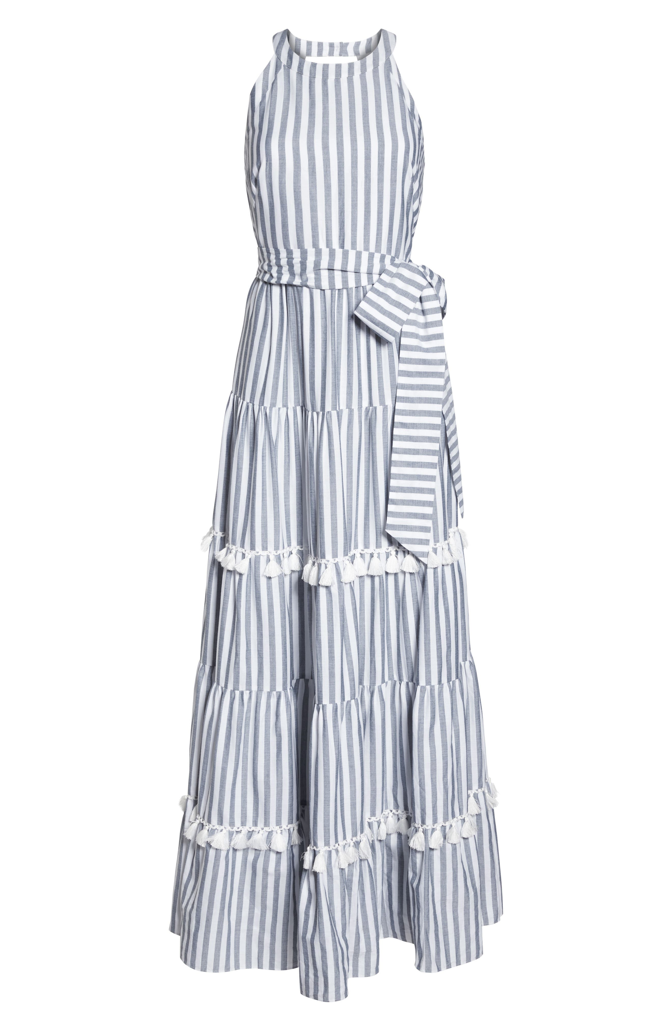 ,                             Tiered Tassel Fringe Cotton Maxi Dress,                             Alternate thumbnail 7, color,                             IVORY/ GREY