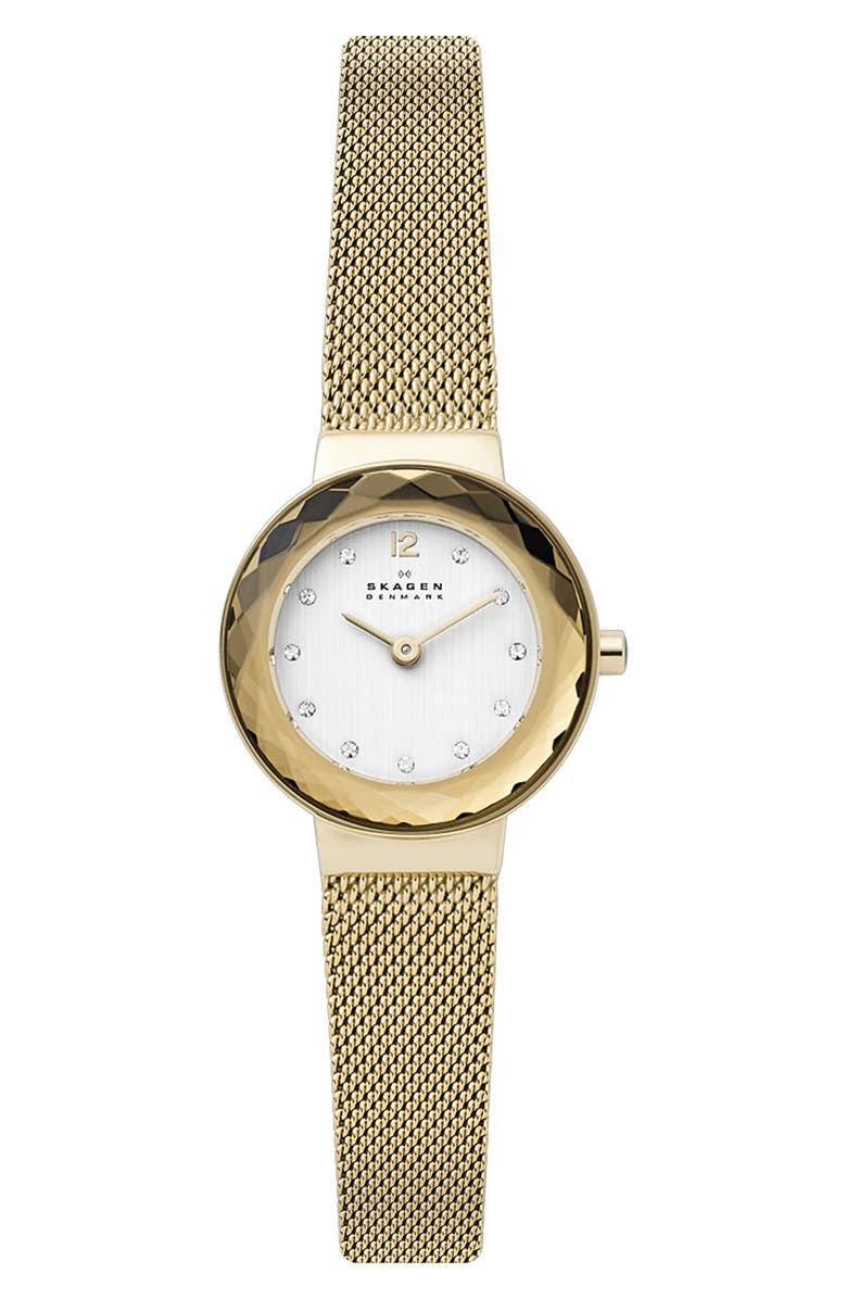 SKAGEN 'Leonora' Faceted Bezel & Stripe Mesh Strap Watch, 25mm, Main, color, GOLD/ SILVER/ GOLD