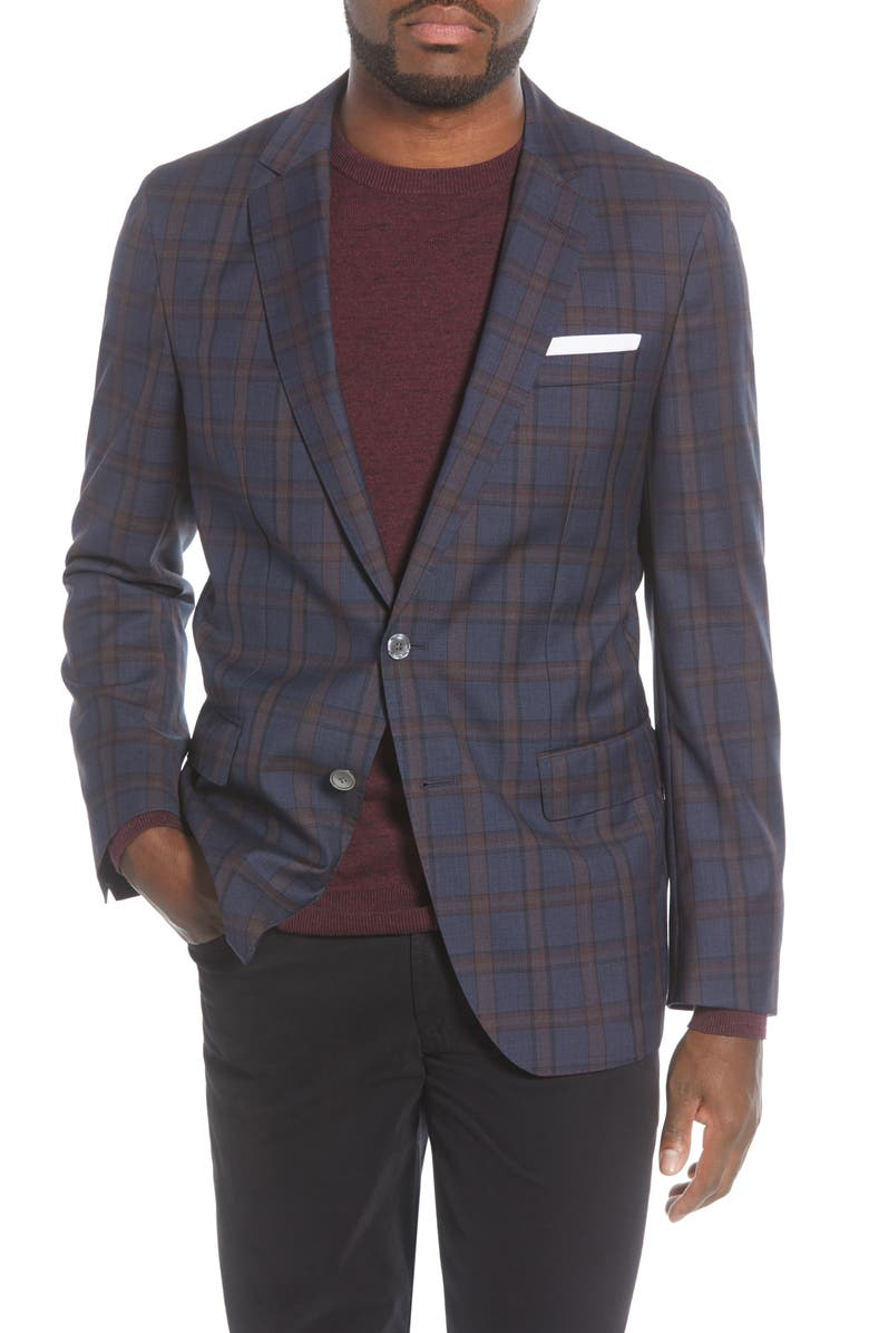 BOSS Hartlay Trim Fit Plaid Wool Sport Coat, Main, color, NAVY/ BURGUNDY