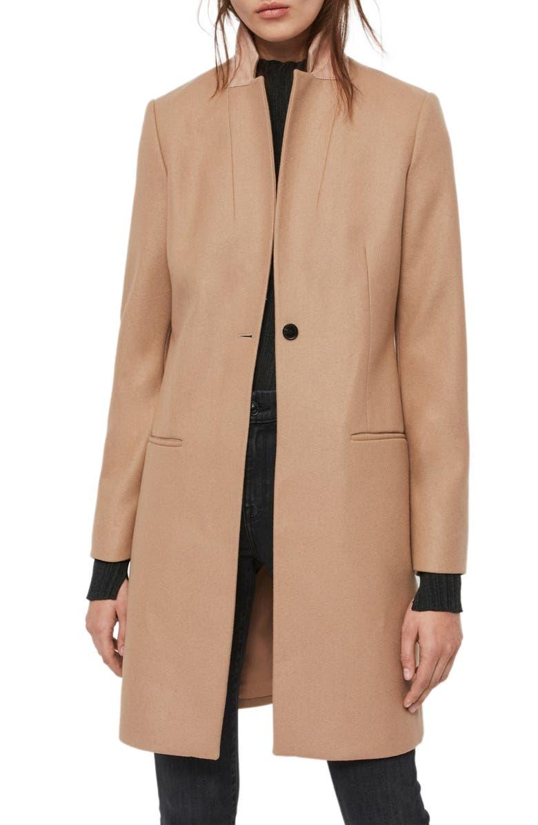 ALLSAINTS Leni Wool & Cashmere Blend Coat, Main, color, 200