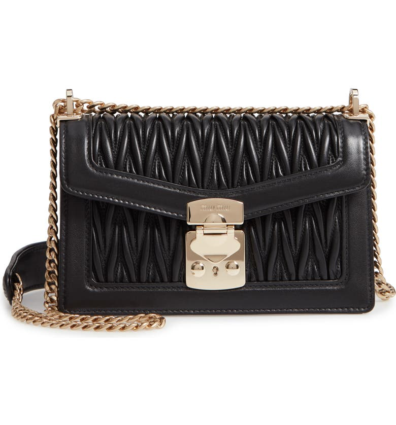 MIU MIU Matelassé Leather Crossbody Bag, Main, color, NERO