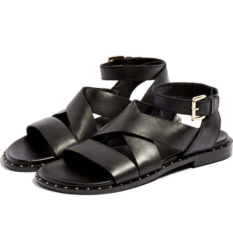 TOPSHOP Hampton Sandal, Main, color, BLACK