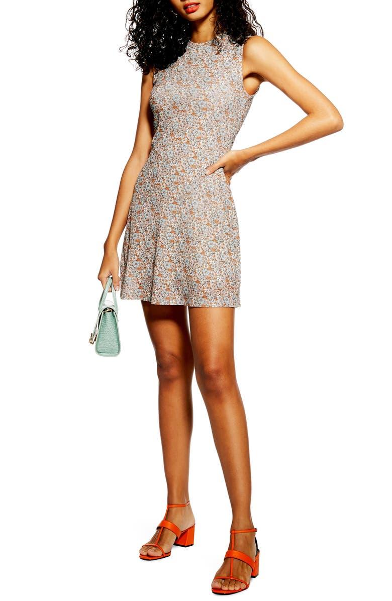 TOPSHOP Ditsy Mesh Minidress, Main, color, 450