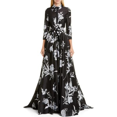 Carolina Herrera Embroidered Floral Belted Trench Gown, Black
