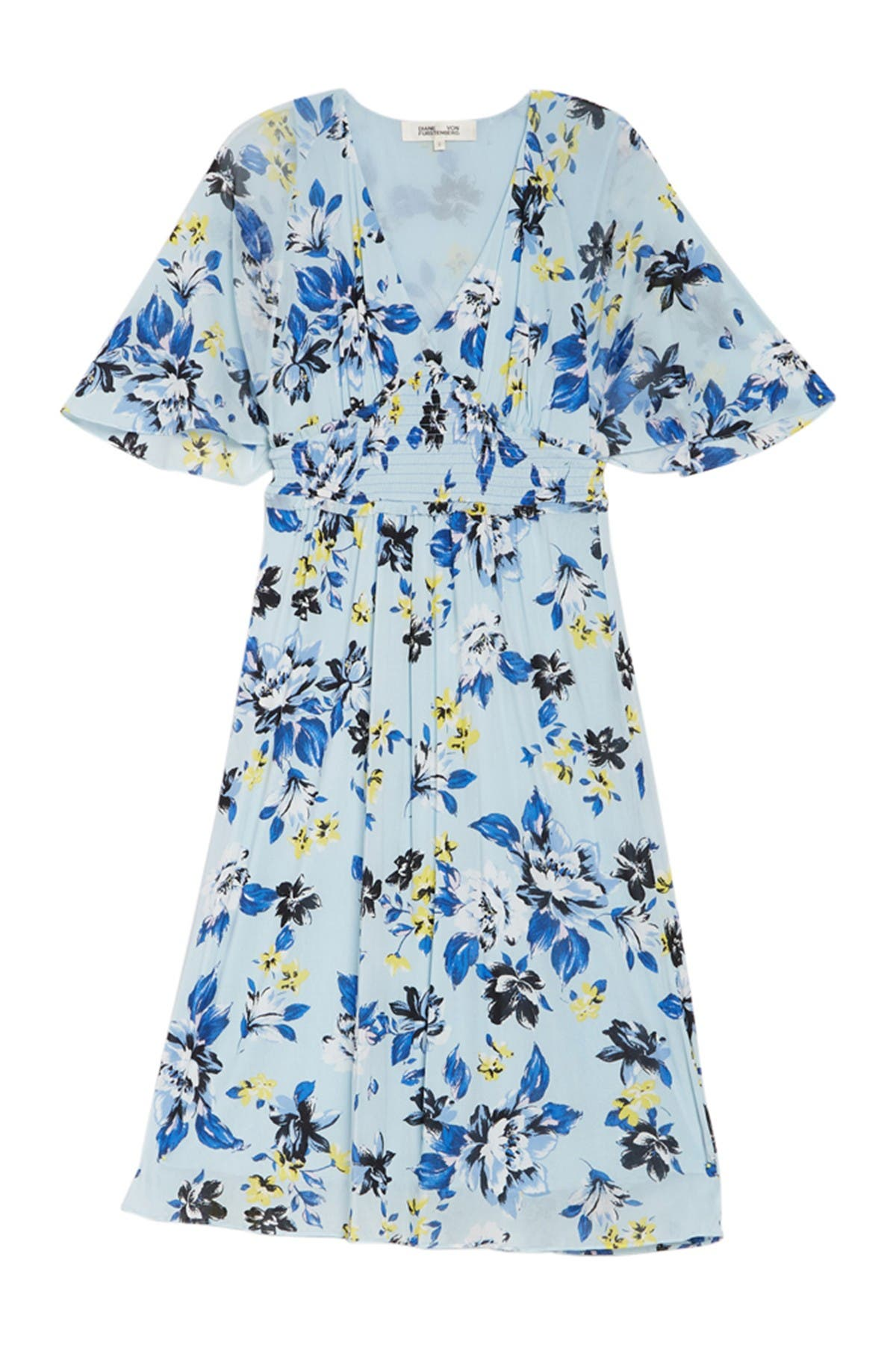 Image of Diane von Furstenberg Nala Floral Smocked Midi Dress
