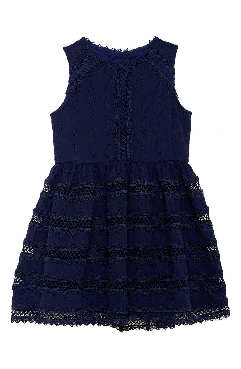 BARDOT Prim Fit & Flare Lace Dress, Main, color, NAVY