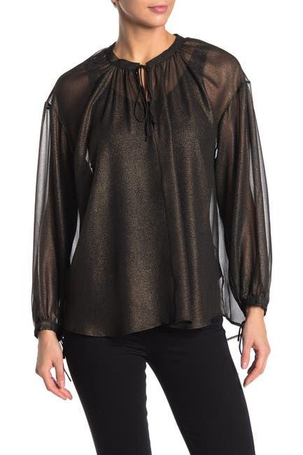 Image of Habitual Cosette Metallic Woven Long Sleeve Blouse