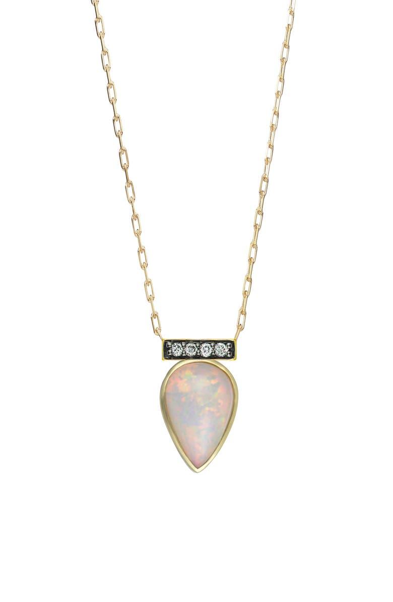 SORELLINA Opal & Diamond Pendant Necklace, Main, color, YELLOW GOLD