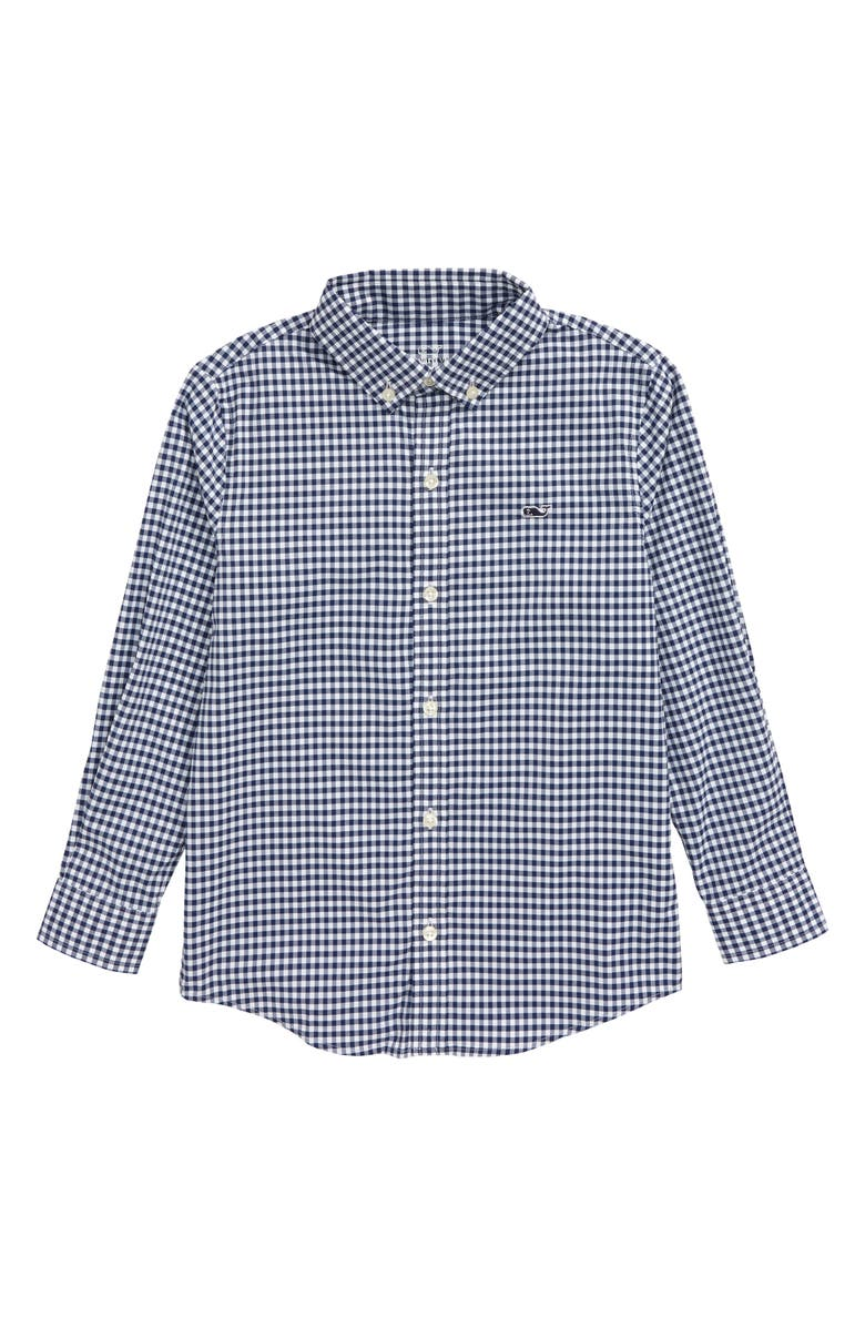 VINEYARD VINES Arawak Gingham Check Whale Performance Shirt, Main, color, DEEP BAY