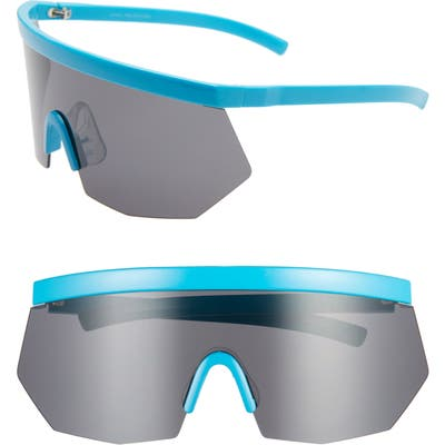 Rad + Refined Retro Shield Sunglasses - Blue/ Black Lens