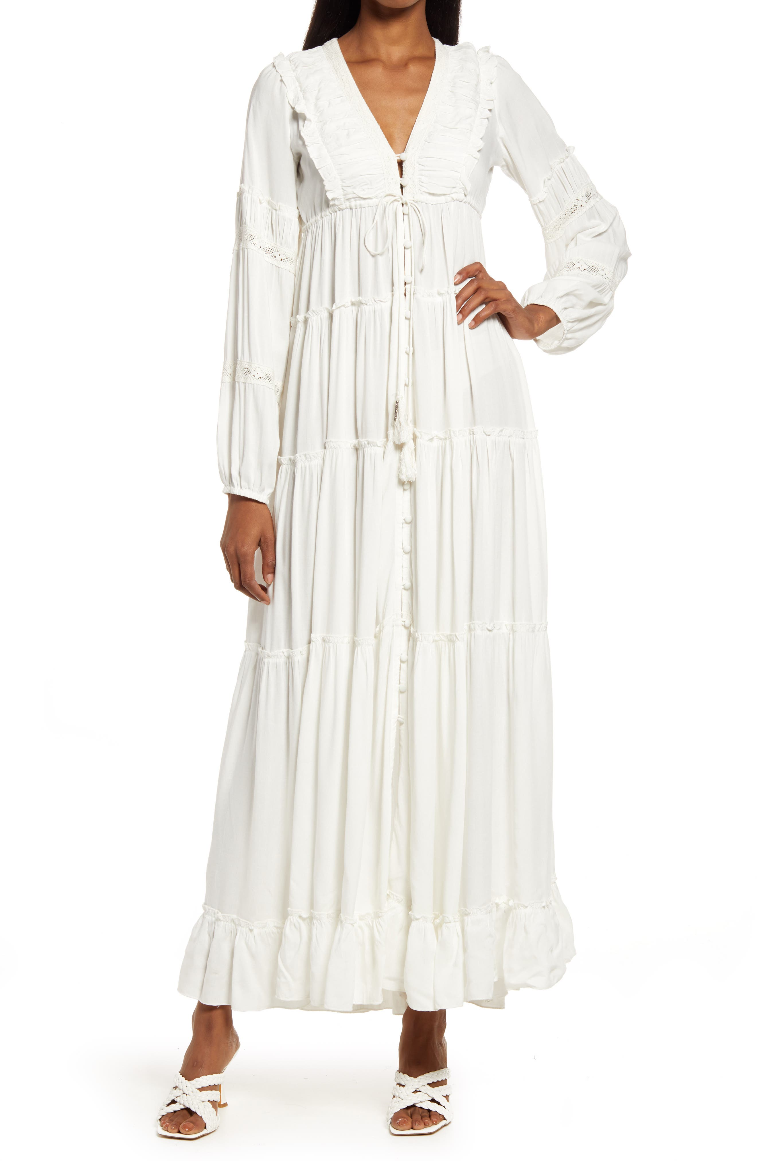 Ali Tassel Tie Long Sleeve Maxi Dress