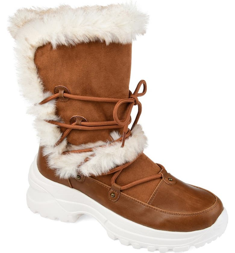 JOURNEE Polar Faux Fur Detail Boot, Main, color, TAN