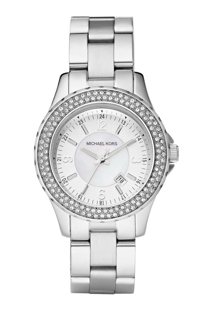 MICHAEL MICHAEL KORS Michael Kors 'Mini Madison' Twin Row Crystal Watch, 33mm, Main, color, 040