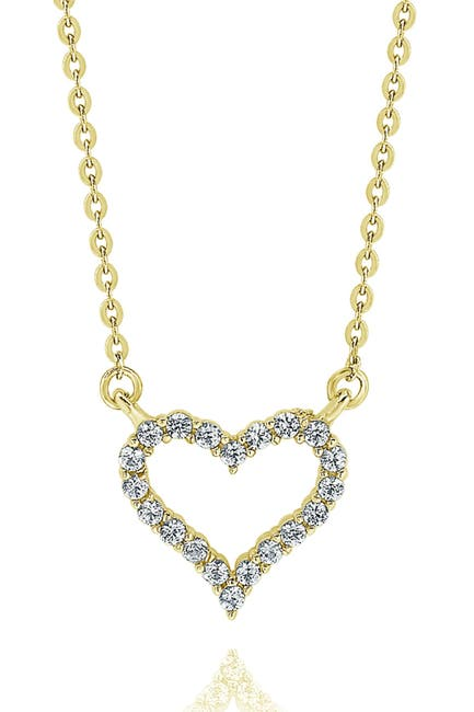 Image of Suzy Levian 14K Yellow Gold Diamond Heart Necklace - 0.25ctw