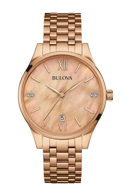 Image of Bulova Women's Rose Gold Diamond Accent Bracelet Watch, 36mm