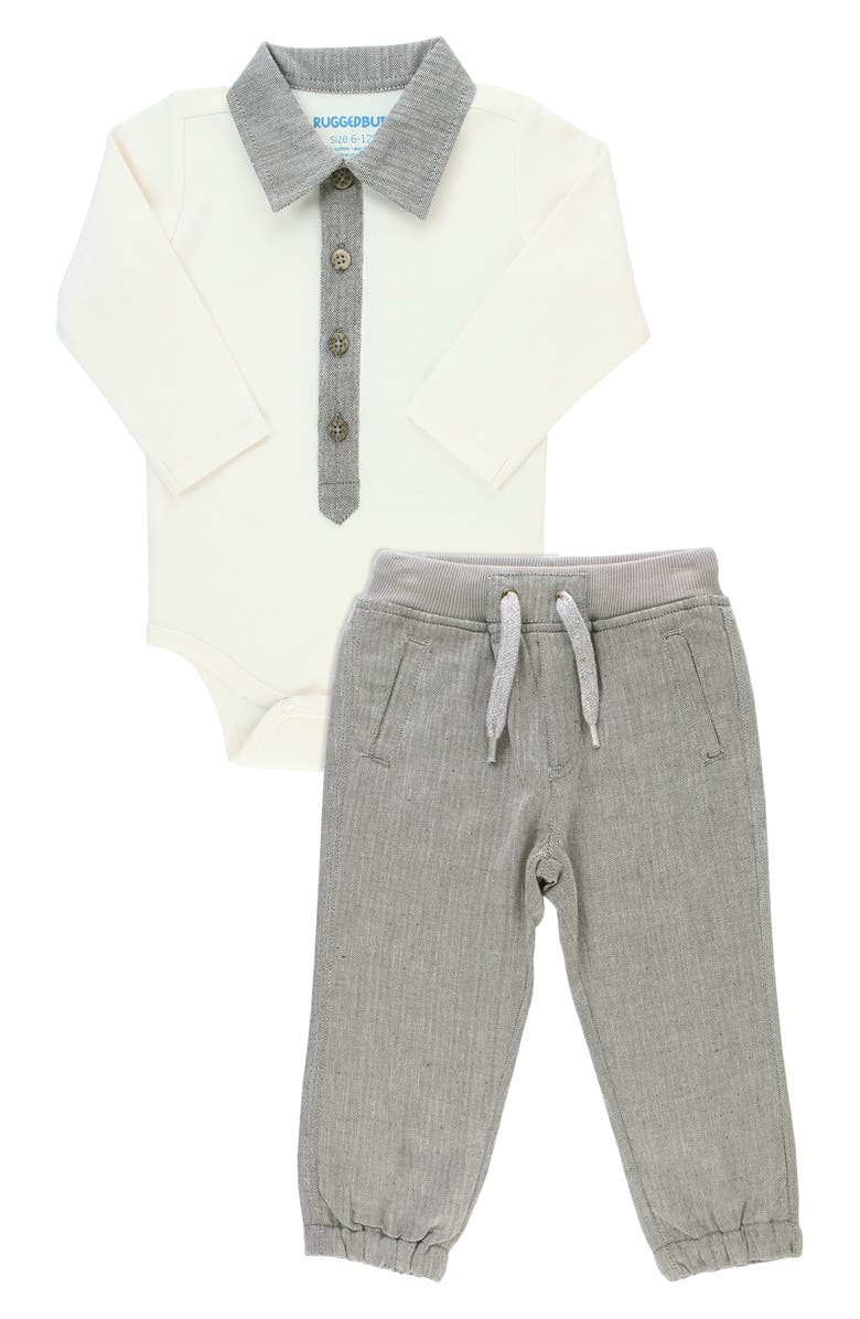 RUGGEDBUTTS Bodysuit & Jogger Pants Set, Main, color, GREY