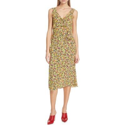 Saloni Penelope Floral Print Silk Midi Dress, Yellow