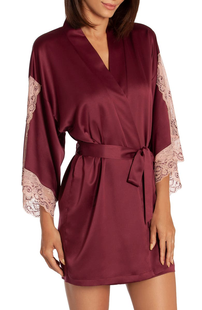 IN BLOOM BY JONQUIL River Satin Robe, Main, color, BURGUNDY